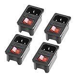 4 Stück Kaltgeräte Einbau-Stecker Einbau-Buchse C-14 250V/ 10A mit Schalter Audio Kaltgeräte-Buchse Einbau Kupplung inkl. Enthält keine Sicherung Sicherung Kaltgeräte