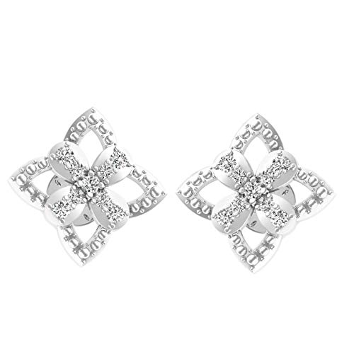 IGI Certified 0.222 Carat Diamond Flower Stud Earrings for Women 10K White Gold (G-H Color, VS-SI Clarity)