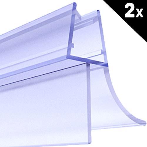 Premium 2 x 100 cm Duschdichtung | Duschkabinen-Dichtung für 6mm 7mm 8mm Glasdicke | Duschtür Dichtung mit verlängerten Gummilippen | Wasserabweiser mit Schwallschutz | Ersatz Duschtürdichtung