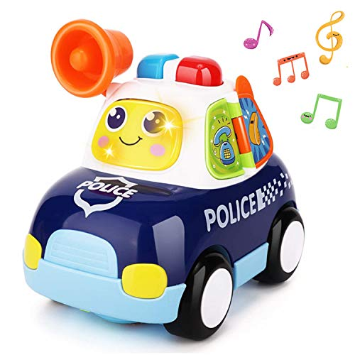Yiosion Musical Police Car Pursuit Rescue Vehicle Interactive Action Educational Learning Walking Light Up Dancing Toy for 1 Year Old Baby Infants Toddlers Gifts