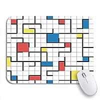 NINEHASA 可愛いマウスパッド カラフルなモンドリアン抽象的な幾何学模様のレトロモダン80S滑り止めゴムバッキングコンピュータマウスパッド(ノートブックマウスマット用)