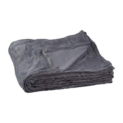 Relaxdays kuschelfleecedecke extragroß aus Polyester, Fleece, bei 30°C waschbar, HBT: 1 x 200 x 220 cm, grau