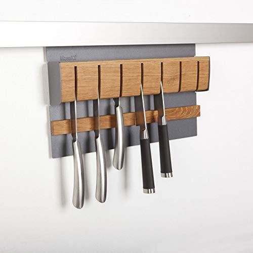 SOTECH Linero MosaiQ magnetische messenhouder, eiken/grafietzwart voor max. 7 messen, 350 x 45 x 200 mm