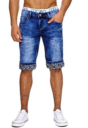 ArizonaShopping Jaylvis Herren Jeans Shorts Kurze Bermuda Hose Used Muster, Farben:Hellblau, Größe Hosen:W31