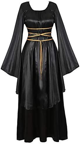 Womens Deluxe Medieval Victorian Costume Renaissance Irish Over Cosplay Retro Gown Black 2XL product image