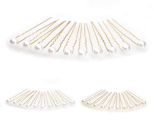 10 x Perlen Haarnadeln - Brauthaarschmuck, Haarschmuck, Perlenhaarnadel | 10PG-Weiss