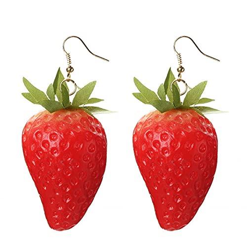 XCWXM Pendientes Colgantes kharisma Pendientes de Fruta roja Verano joyería Fresa Naranja Granada joyería de Moda Esponjoso romántico Pendientes Femeninos-Fresa