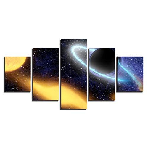 Preisvergleich Produktbild DAIZHJ Wandkunst Leinwand HD Drucke Malerei 5 Stücke Univers Planet Bilder Modular Galaxy Abstrakte Poster Wohnzimmer Wohnkultur