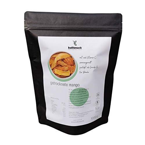 Kultsnack Getrocknete Mango in Bester Premium Qualität – Ohne Zucker und Ungeschwefelt – Naturbelassener Frucht Snack – Für Müsli und Smoothie – Ohne Konservierungsstoffe (Glutenfrei, Vegan) (1000g)