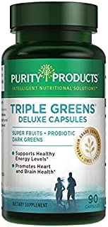 Triple Greens Deluxe Capsules - 90 Caps from Purity Products - Dark Greens and Super Fruits for Vitality and Nutritional Fortification - Supports Healthy Energy levels and Healthy Immune Function