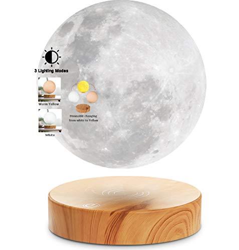 VGAzer Levitating Moon Lamp, flottant et filant librement dans l'air avec socle en bois et impression 3D de Moon Light, pour des cadeaux uniques pour les fêtes, décor de chambre, veilleuse