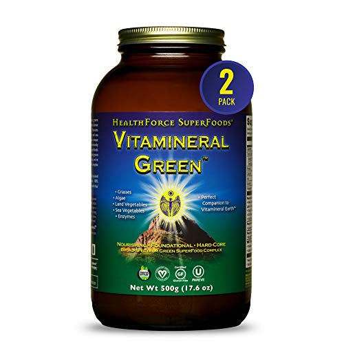 HealthForce SuperFoods Vitamineral Green - 500 Grams - Pack of 2 - All-Natural Green Superfood Complex with Vitamins, Minerals, Amino Acids & Protein - Organic, Vegan, Gluten Free - 100 Total Servings