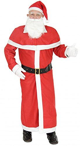 Foxxeo 4-teiliges Weihnachtsmann Kostüm für Herren mit Mantel und Weihnachtsmann Mütze Weihnachtsmannkostüm Größe XXXL-XXXXL