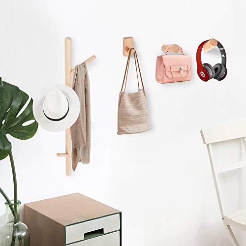 EBTOOLS wandkapstok van hout met 3 wandhaken, om op te hangen, handdoekhouder, sleutelhouder, decoratief, voor ingang, woonkamer, slaapkamer