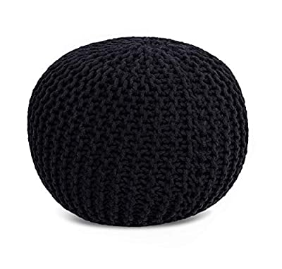 BIRDROCK HOME Round Pouf Foot Stool Ottoman - Knit Bean Bag Floor Chair - Cotton Braided Cord - Great for The Living Room, Bedroom and Kids Room - Small Furniture