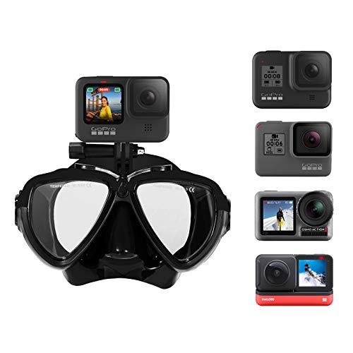 TELESIN Gafas de buceo negras con caja de almacenamiento compatibles con Gopro Max Hero 9 HERO 8/7/6/5 Insta360 ONE R DJI Osmo Action Camera Accesorios de buceo