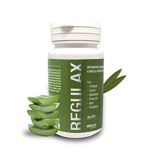 REGULAX - Integratore alimentare naturale regolatore intestinale - Completo ed efficace - Con Finocchio Senna Aloe Rabarbaro Tarassacco e Frangula - Bimar Pharma