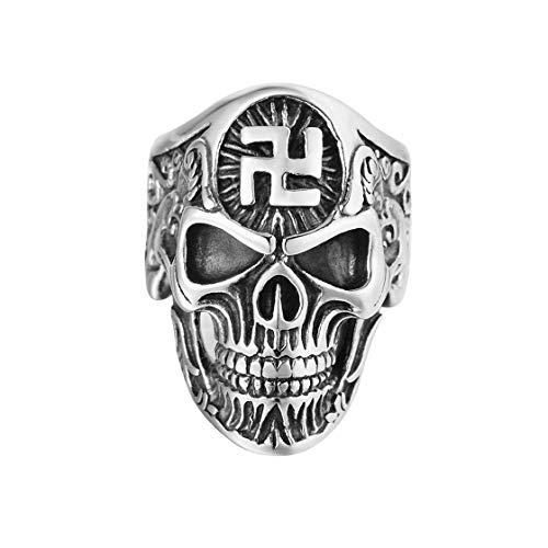 LQS Retro 4D Ghost Head Herren Titanstahlring, Silber Größe 13P