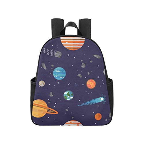 Cartoon Space Shiny Solar System Planet Commuter Backpack 12.40x5.12x14.17inch Book Bags Multipurpose Casual School Bag Business Travel School,Office