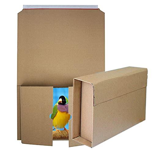 40 Cajas para libros Cajas de cartón de altura variable para envíos Cartón ondulado Marrón 300 x 220 mm hasta 70 mm altura (cl-3022|300x220mm)