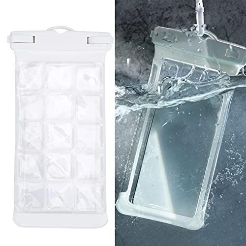 FECAMOS Bolsa Seca subacuática, Carcasa para teléfono Diseño de Doble Cara para Juegos para operación subacuática(White)