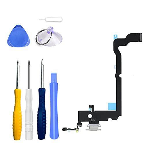 LTZGO - Conector Dock de reharge compatible con iPhone XS Max blanco, USB, puerto micrófono y antena cable de cable, incluye kit de herramientas de reparación y destornillador de 6,5 pulgadas