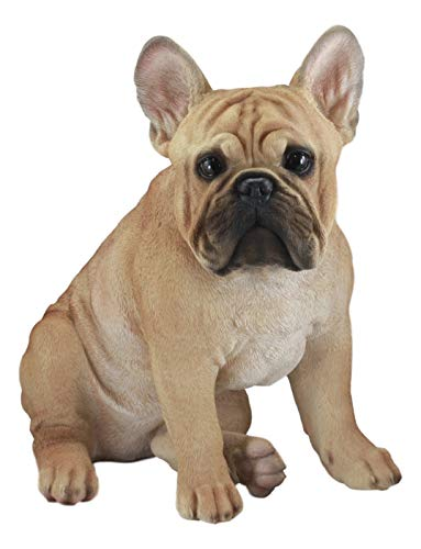 Ebros Large Lifelike Realistic French Bulldog Statue with Glass Eyes 15.75' Tall Frenchie Figurine