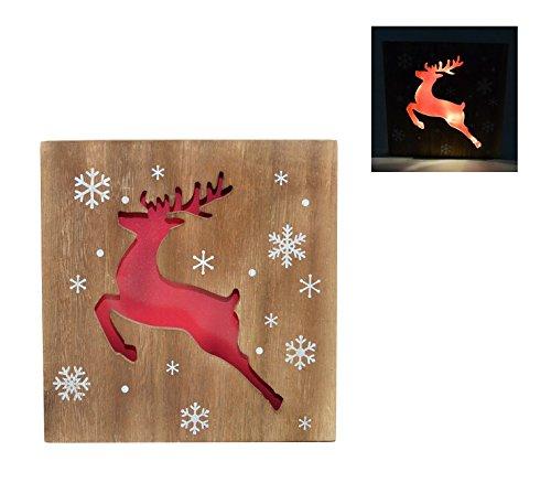 'Tableau en Bois Renne de Noël 12 LED en Bois avec Fonctionnement à Piles – 25 x 25 cm