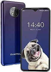 "Telefono Movil,OUKITEL C19 Android 10 4G Smartphone Dual SIM,Pantalla HD+ de 6.49"" 4000 mAh Bateria Triple Cámara Trasera de 13MP,2GB+16GB (256GB Ampliable) Móvil Face ID,Azul"