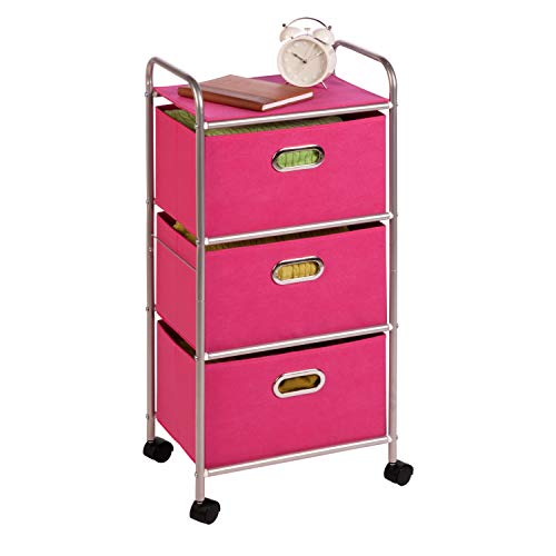 Honey-Can-Do CRT-02348 Fabric Rolling Cart with 3 Drawers, Pink