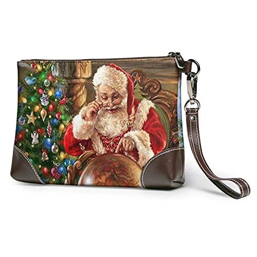 XCNGG Santa Claus Clutch Geldbörsen Lederhandtasche Wristlet Clutch Portemonnaie Geldbörsen für Damen