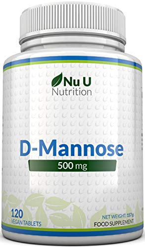 D-Mannose Tablets 500mg | 120 Tablets | High Strength | Allergen Free and Suitable for Vegetarians and Vegans | Not Mannose Capsules or Powder Made in The UK by Nu U Nutrition