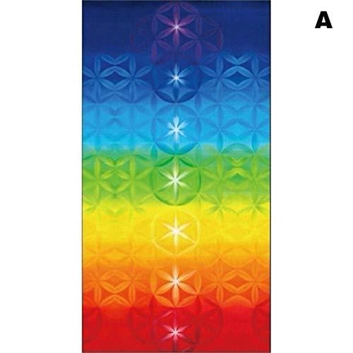 Xinrongqu Tapiz Yoga Mat, Bufanda Chal Colorido Poliéster Borla 150X75cm Transpirable para Playa,A