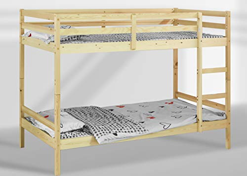 Visco Therapy Mecor Bunk Bed in Natural Pine Wood Available in 2FT6 and 3FT, HEAVY DUTY, SPLITS INTO 2 SINGLE BEDS, BUNK BED FOR KIDS CHILDREN