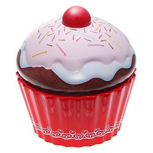 POWERHAUS24 Cup Cake Dose, pink, mit Streuseln, Keksdose, Muffindose, Aufbewahrungsdose, Dekoration, Blechdose Vol. 1,5l