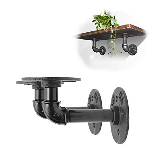 king do way Industrial Black Iron Pipe Bracket Wall Mounted Floating Shelf Hanging Wall Hardware Decor for Farmhouse Shelving Hardware Heavy Duty (2pcs)
