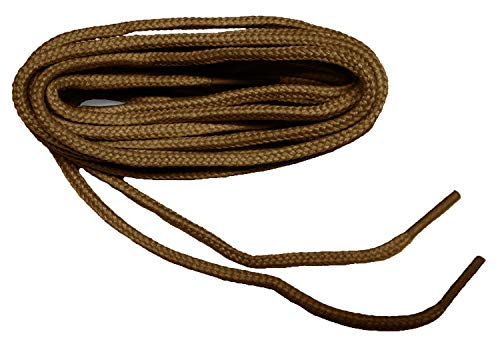 GREATLACES (2 Pair Pack) Rugged Heavy Duty Round 4mm Thick Boot Laces Shoelaces shoestrings (42 Inch 107 cm, Dark Tan)