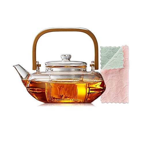 Glass Teapot with Glass Infuser, Teapot with Strainer for Loose Tea, Safe On Stovetop, Tea Pot with Bamboo Handle… (800ml/28oz)