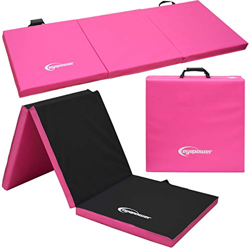 EYEPOWER 180x60 Turnmatte für Zuhause - Klappbar - 5cm Gymnastikmatte - Kinder Weichbodenmatte Pink