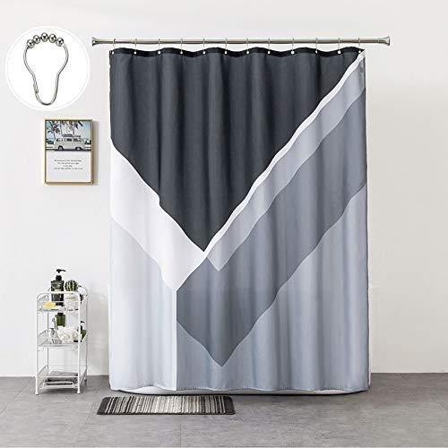 Rellosatul - Schwarz - Dusch-Curtains-Set - Stoff - Wasserabweisend - Duschvorhänge für Badezimmer mit 12 rostfreien Haken Luxus Spa Duschvorhang 72 x 72 Zoll Schwarz und Grau
