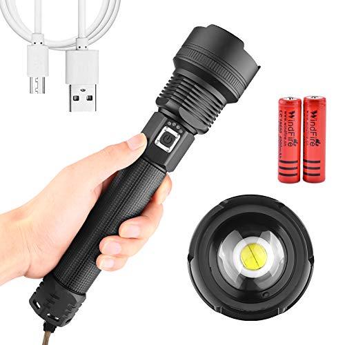 Linterna Tactica LED Super Brillante XHP70 10000 Lúmenes Alta Potencia Impermeable Recargable...