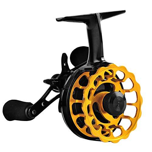 Fiblink Inline Ice Fishing Reel Right/Left Handed 2.7:1 Gear Ratio Mental Fishing Raft Wheel Ice Reels (Orange-Left Handed)
