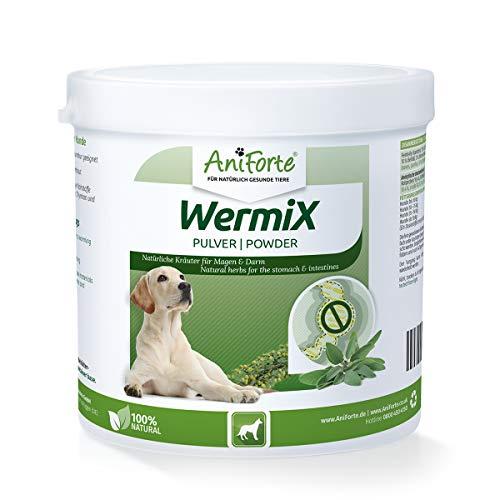 AniForte WermiX Pulver für Hunde 250g - Naturprodukt nach Wurmbefall mit Saponine, Bitterstoffe, Gerbstoffe, Wermut, Naturkräuter harmonisieren Magen & Darm