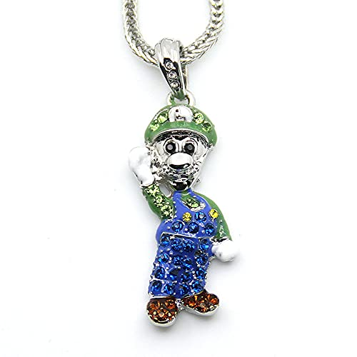 YXIUER Super Mario Luigi Accessory Necklace, Colgante De AleacióN, Collar De Anime, JoyeríA De Cosplay, Decoraciones para El Cuello, Cadena De Cuerda para Mujeres Y Hombres