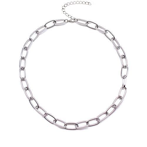 Collares Colgante Joyas Broche Collar De Oro Collar De Círculo Mixto Vinculado para Mujer Gargantilla Minimalista Collar-No4_Silver