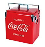 Coca-Cola Retro Ice Chest Cooler with Bottle Opener 13 Litre /14 Quart, Red, Vintage <span class='highlight'>Style</span> Ice Bucket for Camping, Beach, Picnic, RV, BBQs, Fishing