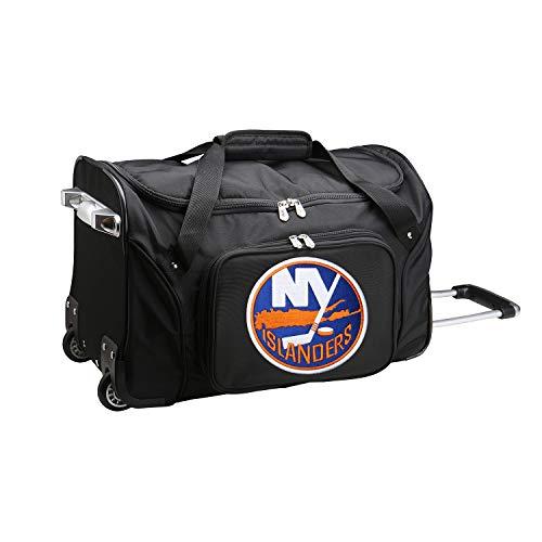 Best Bargain Denco NHL New York Islanders Wheeled Duffel Bag, Black, 22 x 12 x 5.5 (NHISL401)