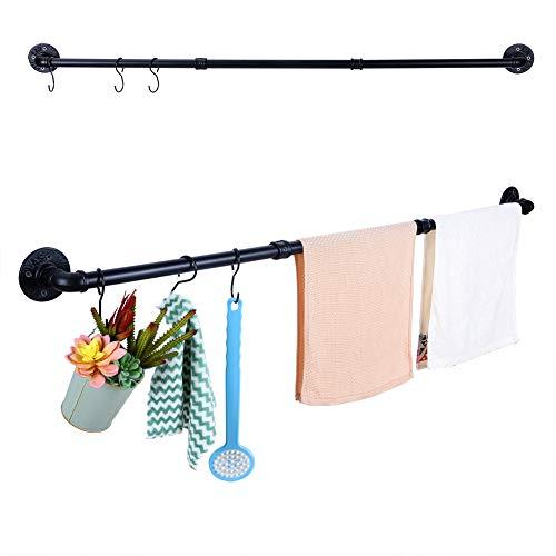 Handtuchhalter Rohr Schwarz Matt 128 cm, Handtuchstange Bad Wandmontage mit 3 Haken, Geeignet zum Aufhängen von Kleidung, Handtüchern, Badetuch, Badekugel