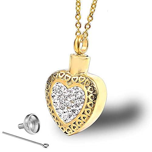 OPPJB Collar para Cenizascollar De Urna De Diamantes con Colgante Destornillable con Corazón De Amor