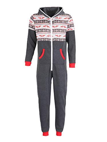 Jumpsuit Overall Herren Winter Jogging Anzug Hirsche Bedruckt One Piece Reißverschluss Trainingsanzug mit Kapuze und Tasche (Grau, S)